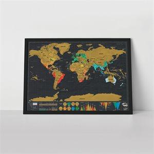 Carte mondiale à gratter - Format voyage Deluxe
