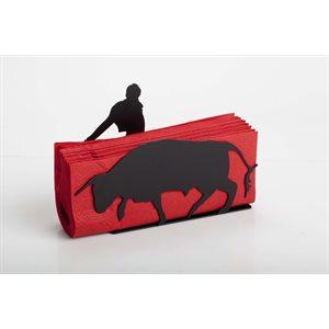 Red napkin holder Matador and Bull